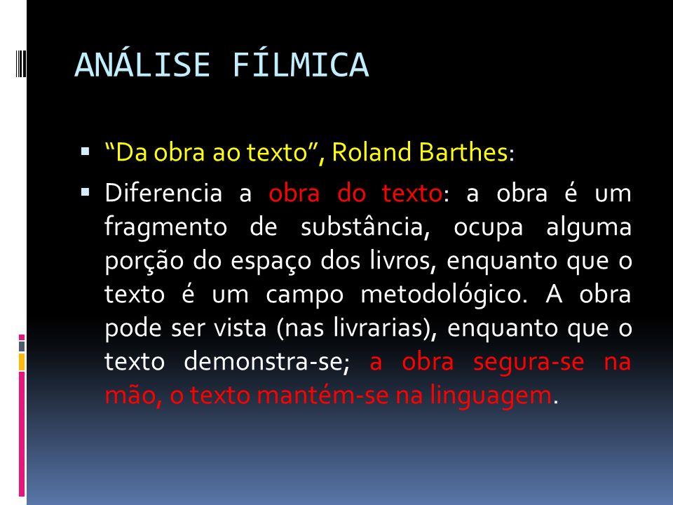 ANÁLISE FÍLMICA Da obra ao texto , Roland Barthes:
