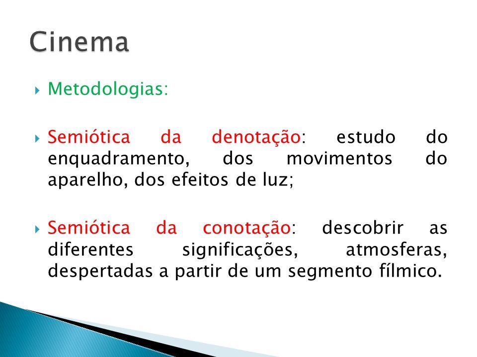 Cinema Metodologias: Semiótica da denotação: estudo do enquadramento, dos movimentos do aparelho, dos efeitos de luz;