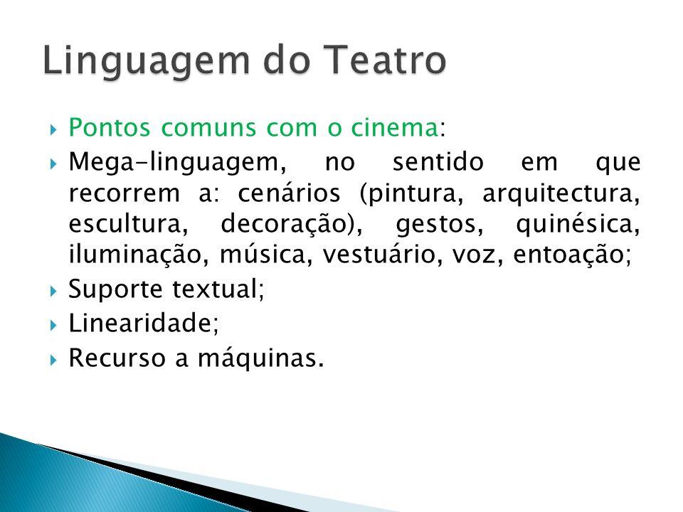 Linguagem do Teatro Pontos comuns com o cinema: