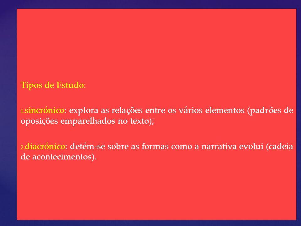 Tipos de Estudo: sincrónico: explora as relações entre os vários elementos (padrões de oposições emparelhados no texto);