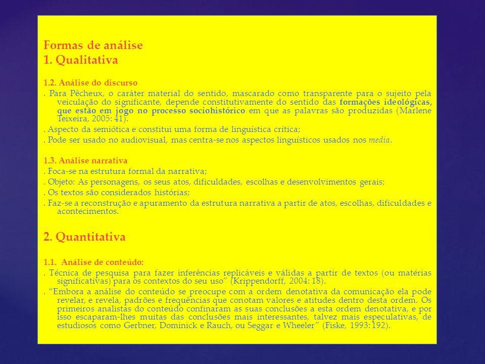 Formas de análise 1. Qualitativa 2. Quantitativa