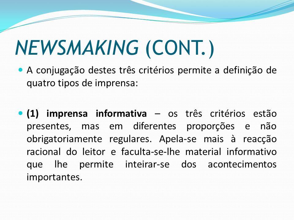 NEWSMAKING (CONT.) A conjugação destes três critérios permite a definição de quatro tipos de imprensa: