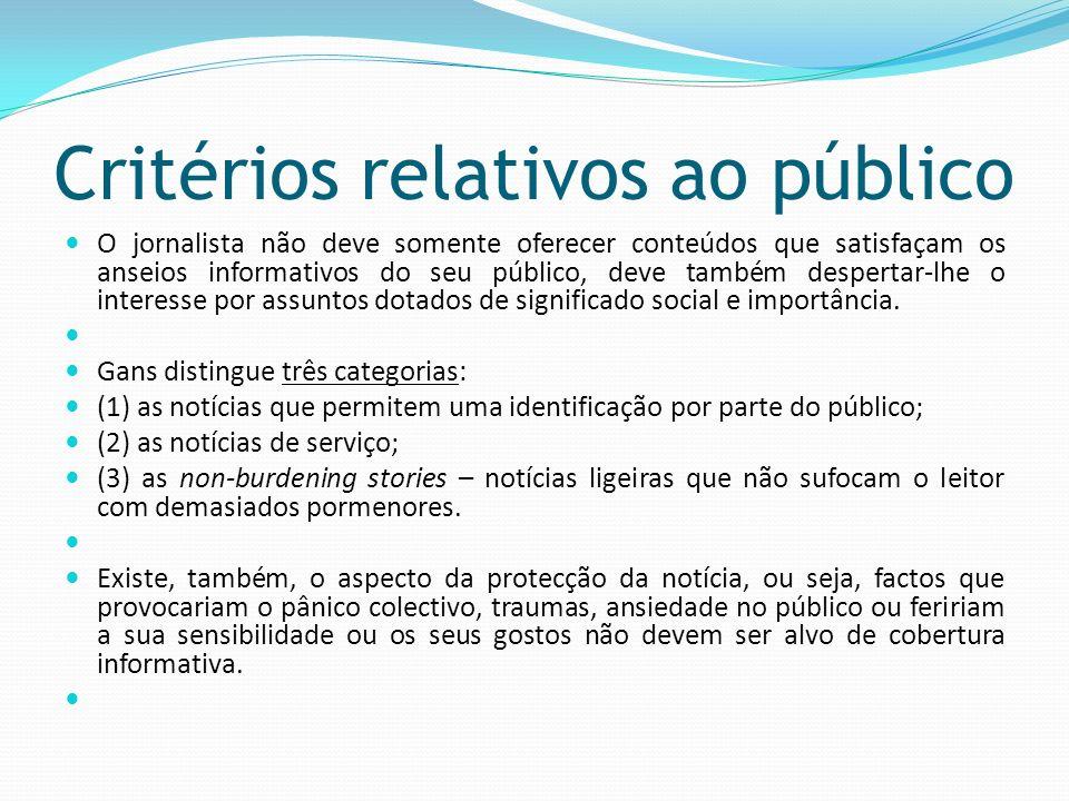 Critérios relativos ao público