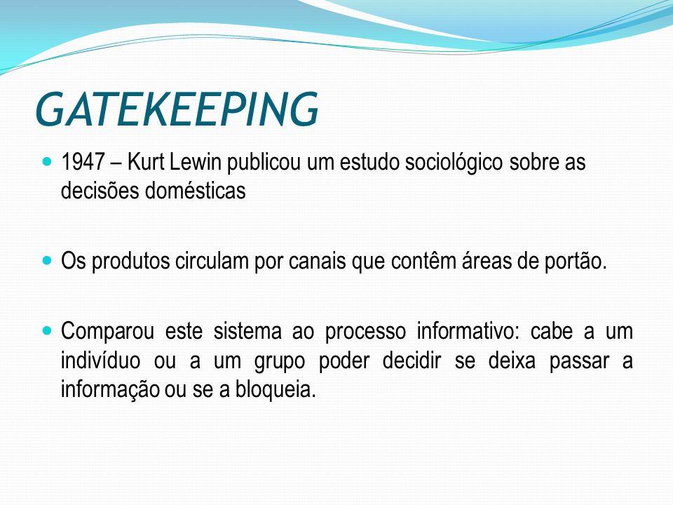 GATEKEEPING 1947 – Kurt Lewin publicou um estudo sociológico sobre as decisões domésticas.