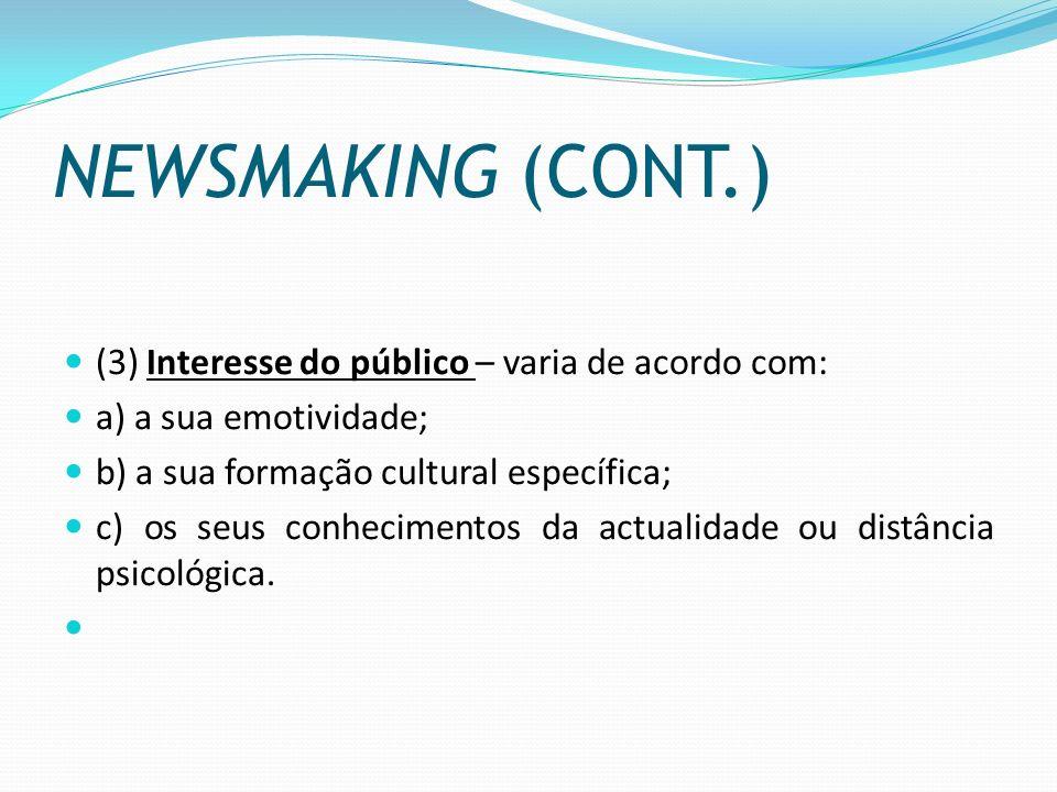 NEWSMAKING (CONT.) (3) Interesse do público – varia de acordo com:
