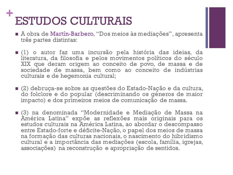 ESTUDOS CULTURAIS A obra de Martín-Barbero, Dos meios às mediações , apresenta três partes distintas: