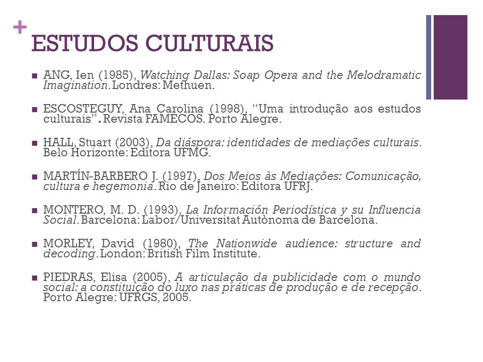 ESTUDOS CULTURAISANG, Ien (1985), Watching Dallas: Soap Opera and the Melodramatic Imagination. Londres: Methuen.