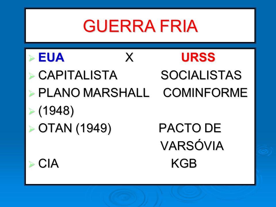 GUERRA FRIA EUA X URSS CAPITALISTA SOCIALISTAS