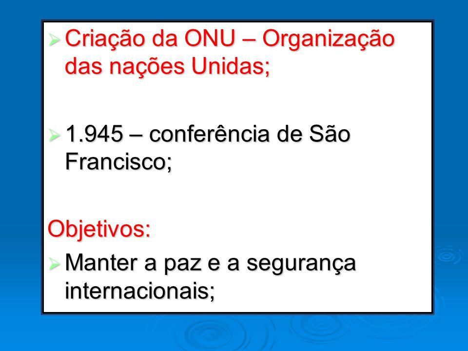 Criação da ONU – Organização das nações Unidas;