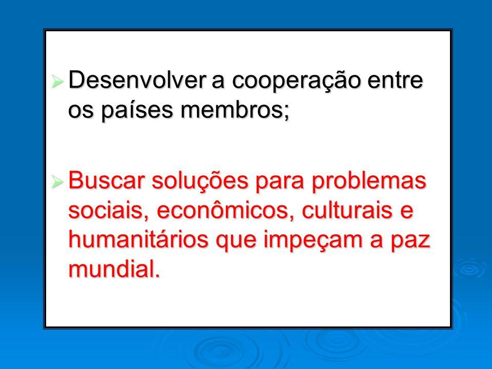 Desenvolver a cooperação entre os países membros;