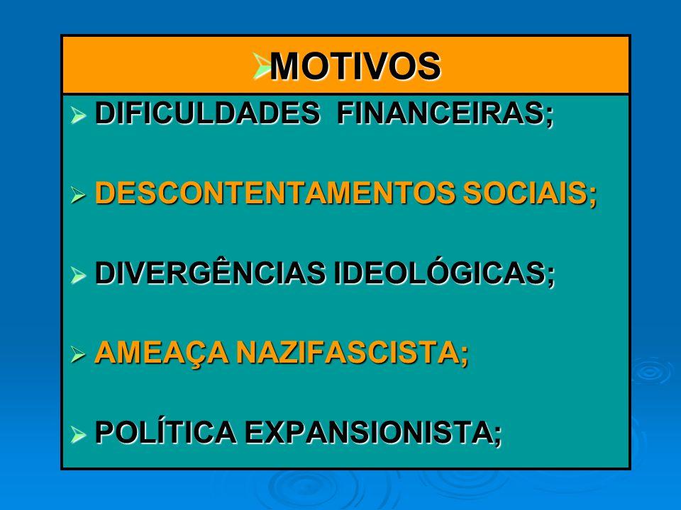 MOTIVOS DIFICULDADES FINANCEIRAS; DESCONTENTAMENTOS SOCIAIS;