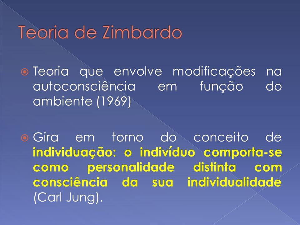 Teoria de Zimbardo Teoria que envolve modificações na autoconsciência em função do ambiente (1969)