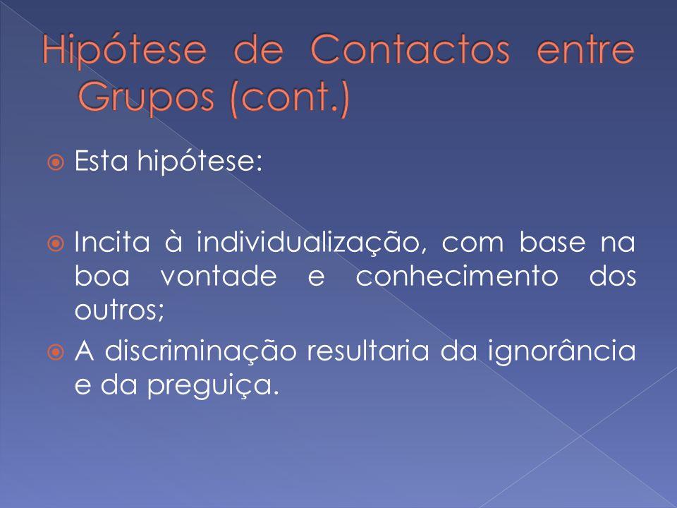 Hipótese de Contactos entre Grupos (cont.)