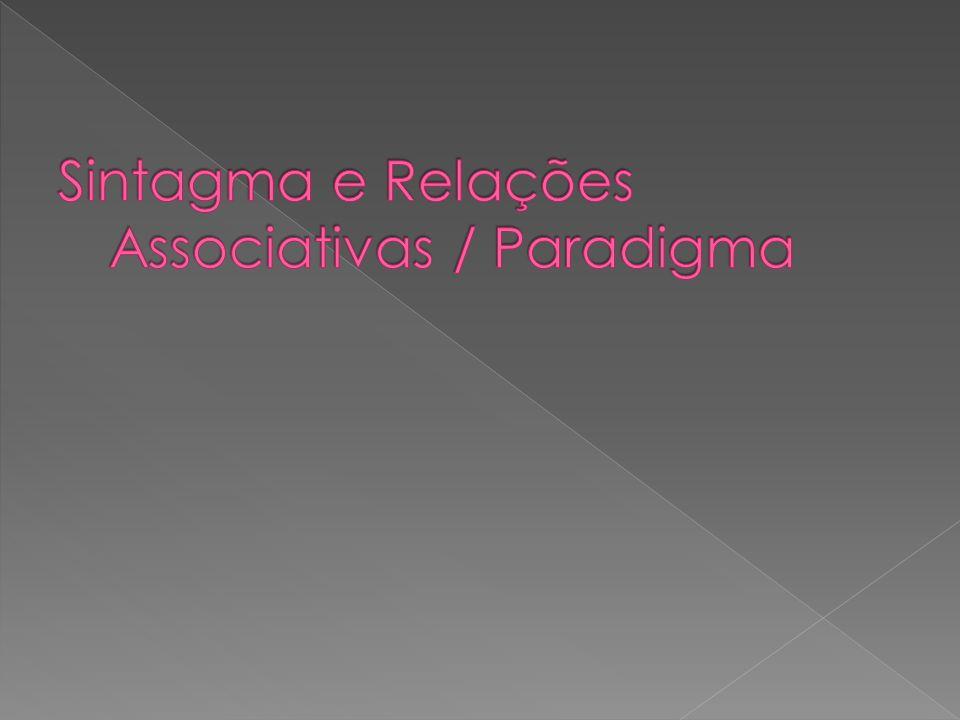 Sintagma e Relações Associativas / Paradigma