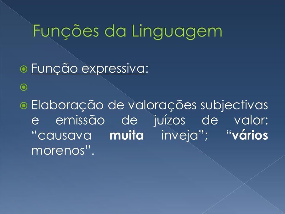Funções da Linguagem Função expressiva:
