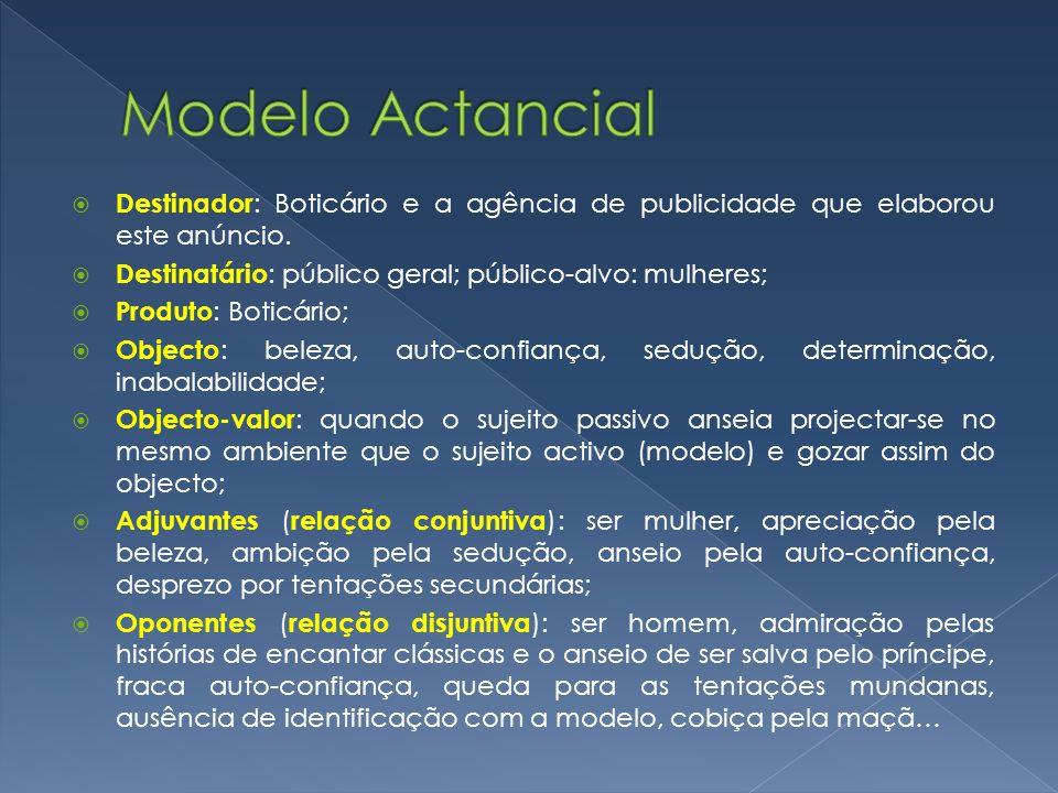 Modelo Actancial Destinador: Boticário e a agência de publicidade que elaborou este anúncio. Destinatário: público geral; público-alvo: mulheres;