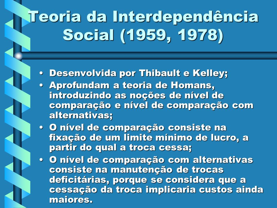 Teoria da Interdependência Social (1959, 1978)