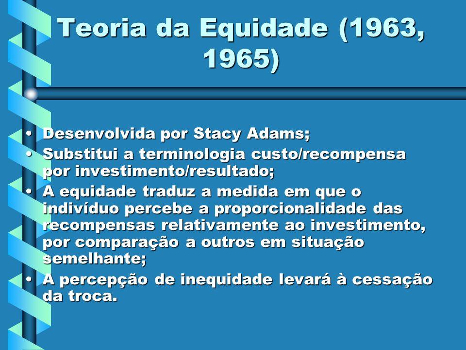 Teoria da Equidade (1963, 1965) Desenvolvida por Stacy Adams;