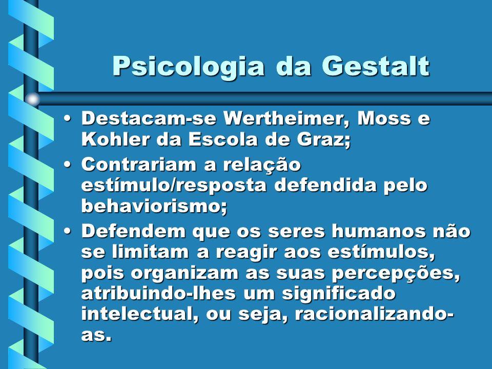 Psicologia da Gestalt Destacam-se Wertheimer, Moss e Kohler da Escola de Graz; Contrariam a relação estímulo/resposta defendida pelo behaviorismo;