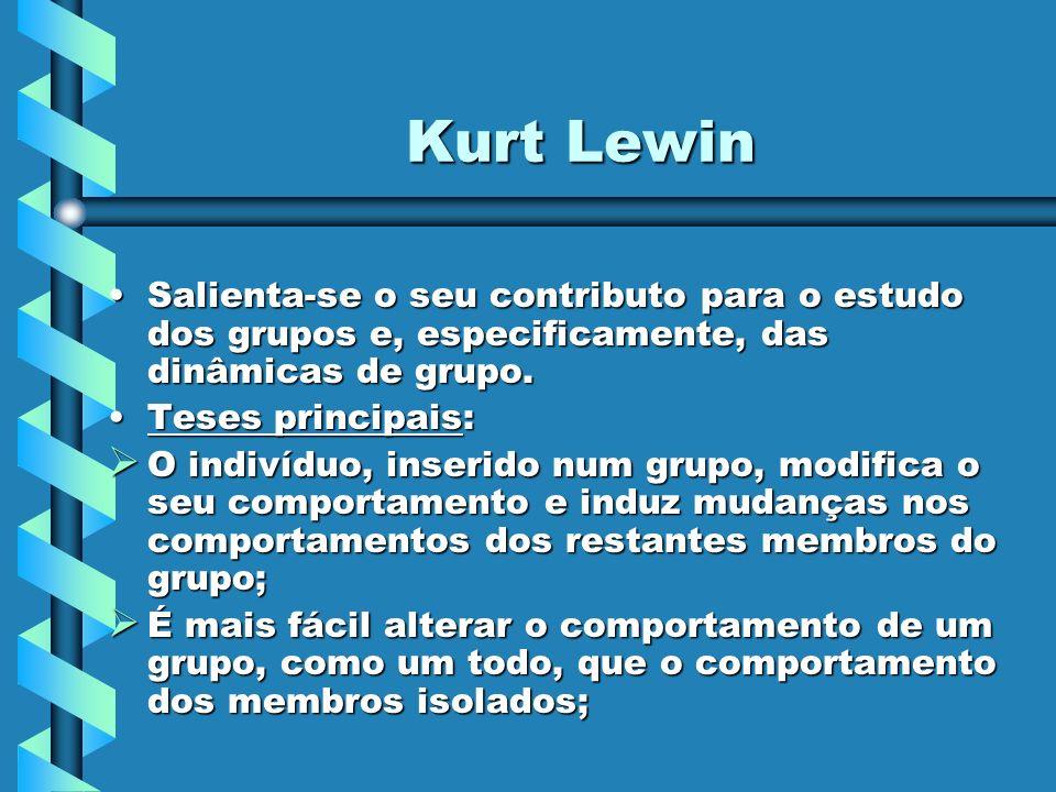 Kurt Lewin Salienta-se o seu contributo para o estudo dos grupos e, especificamente, das dinâmicas de grupo.