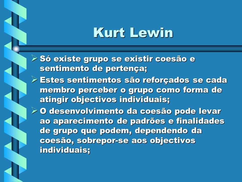 Kurt Lewin Só existe grupo se existir coesão e sentimento de pertença;