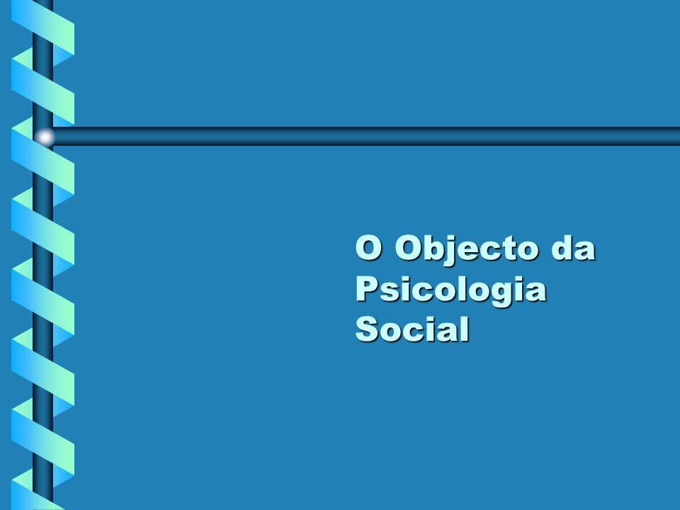 O Objecto da Psicologia Social