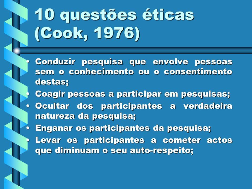 10 questões éticas (Cook, 1976)