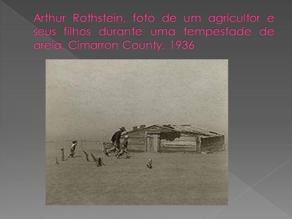 Arthur Rothstein, foto de um agricultor e seus filhos durante uma tempestade de areia, Cimarron County, 1936