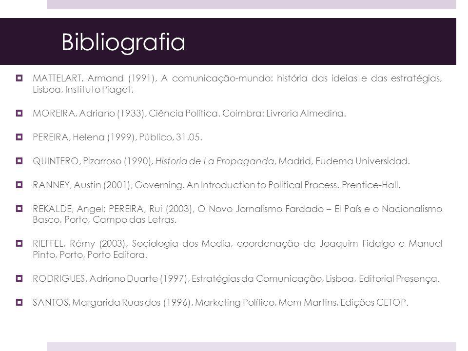 Bibliografia MATTELART, Armand (1991), A comunicação-mundo: história das ideias e das estratégias, Lisboa, Instituto Piaget.