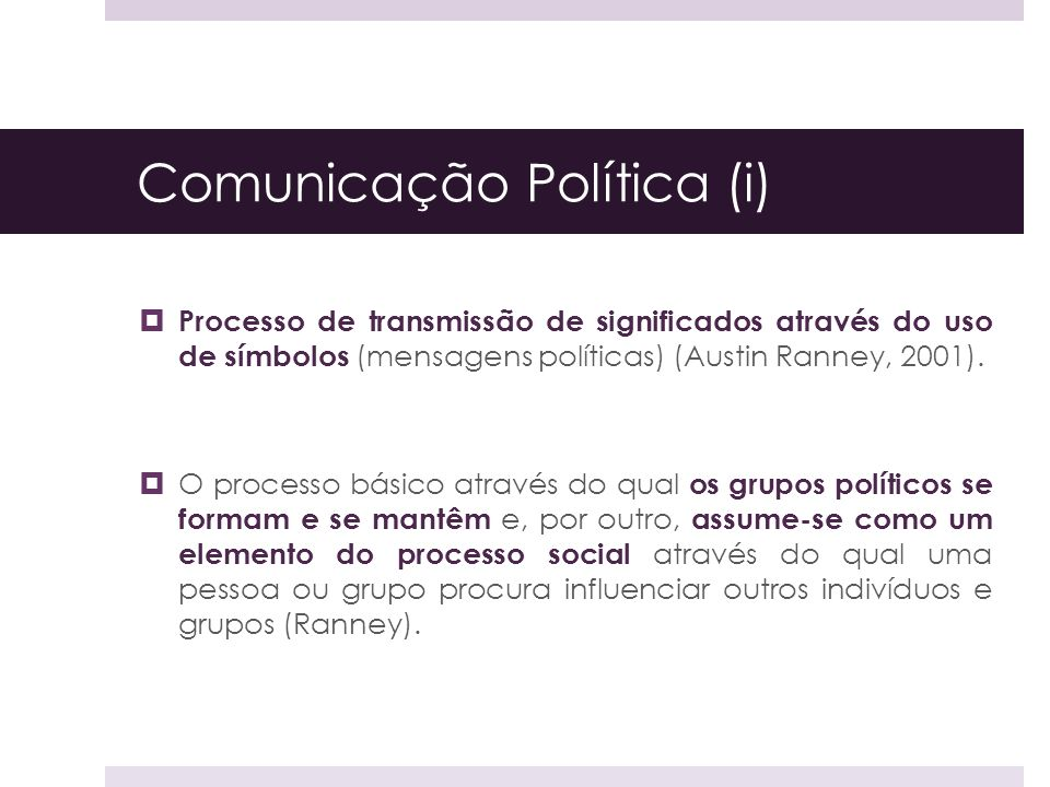Comunicação Política (i)