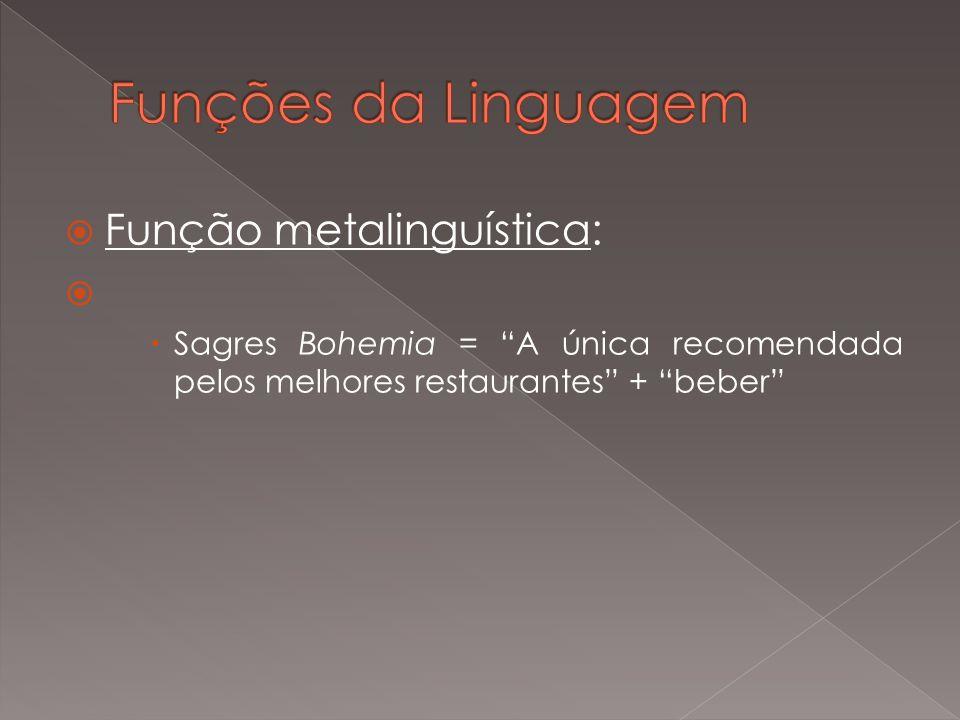 Funções da Linguagem Função metalinguística: