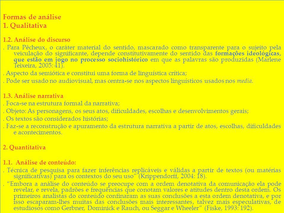 Formas de análise 1. Qualitativa 1.2. Análise do discurso