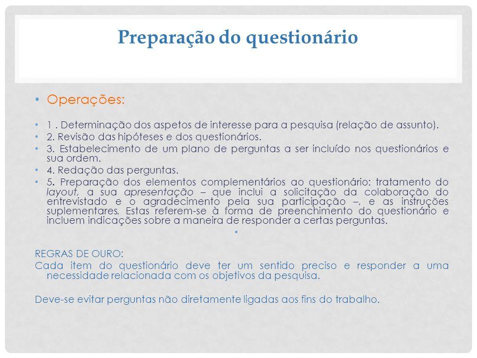 Preparação do questionário
