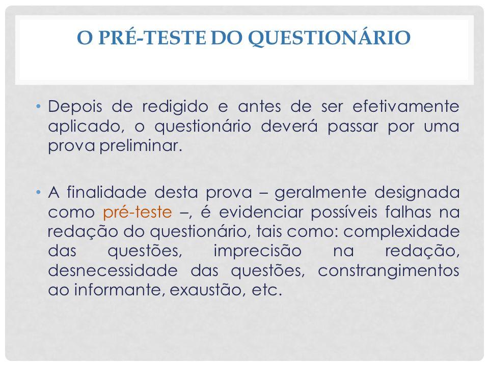 O PRÉ-TESTE DO QUESTIONÁRIO