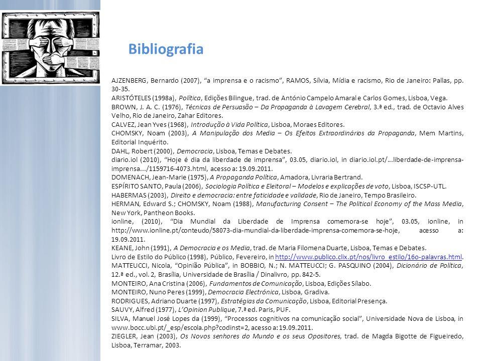 Bibliografia AJZENBERG, Bernardo (2007), a imprensa e o racismo , RAMOS, Sílvia, Mídia e racismo, Rio de Janeiro: Pallas, pp. 30-35.