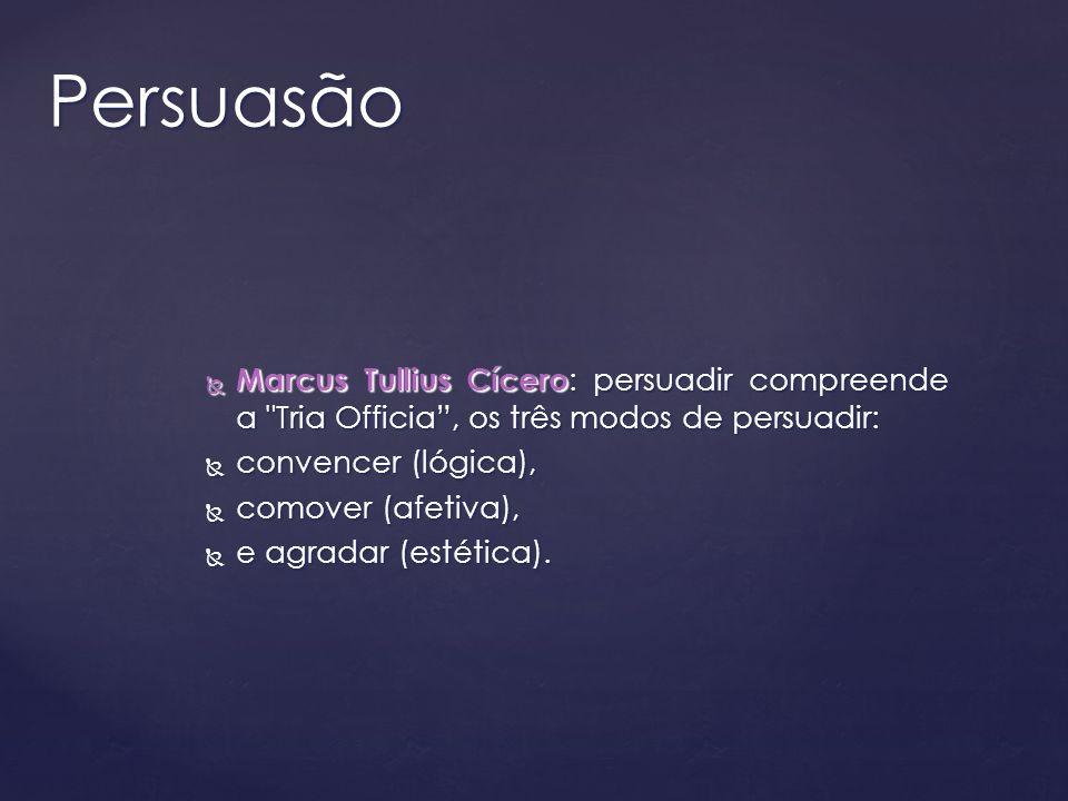 Persuasão Marcus Tullius Cícero: persuadir compreende a Tria Officia , os três modos de persuadir: