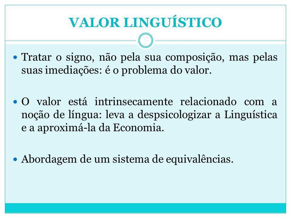 VALOR LINGUÍSTICO Tratar o signo, não pela sua composição, mas pelas suas imediações: é o problema do valor.