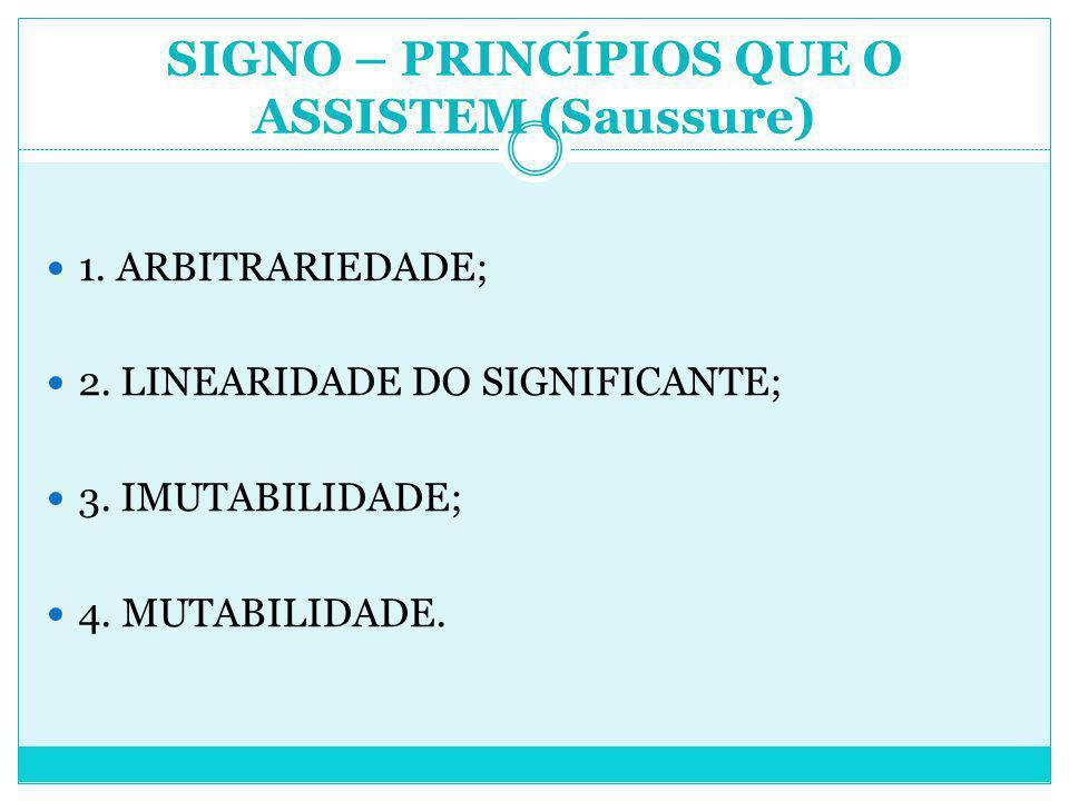 SIGNO – PRINCÍPIOS QUE O ASSISTEM (Saussure)
