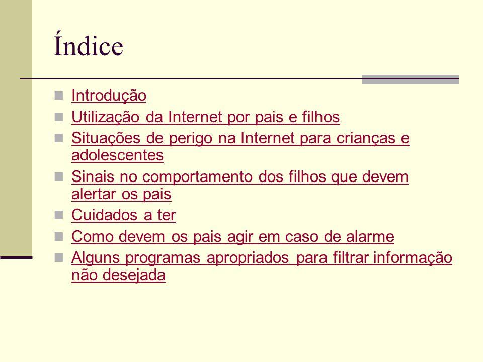 Índice Introdução Utilização da Internet por pais e filhos