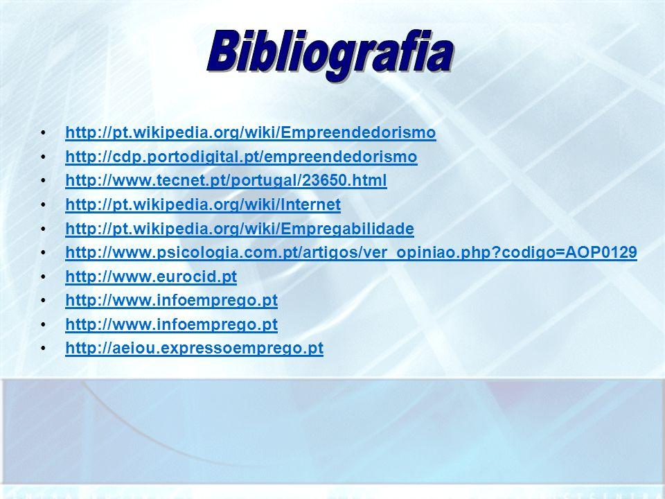 Bibliografia http://pt.wikipedia.org/wiki/Empreendedorismo