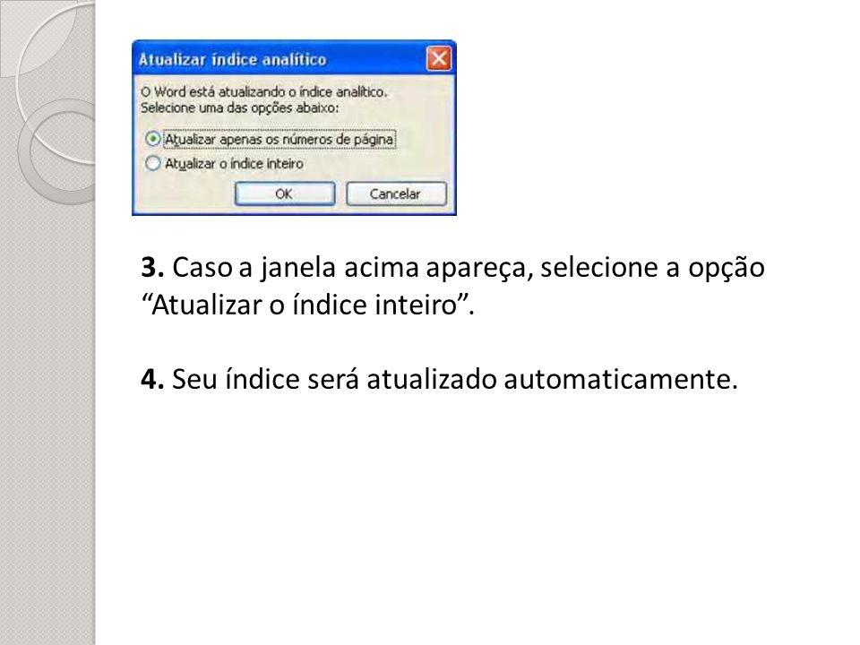 3. Caso a janela acima apareça, selecione a opção Atualizar o índice inteiro .