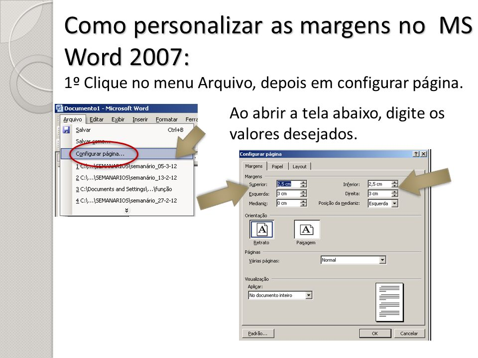 Como personalizar as margens no MS Word 2007: