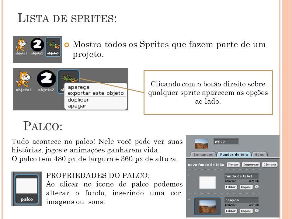 Lista de sprites: Palco: