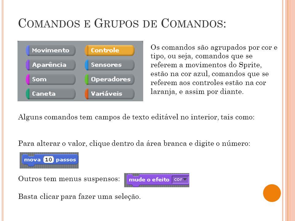 Comandos e Grupos de Comandos: