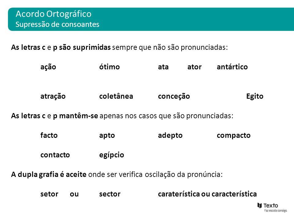 Acordo Ortográfico Supressão de consoantes