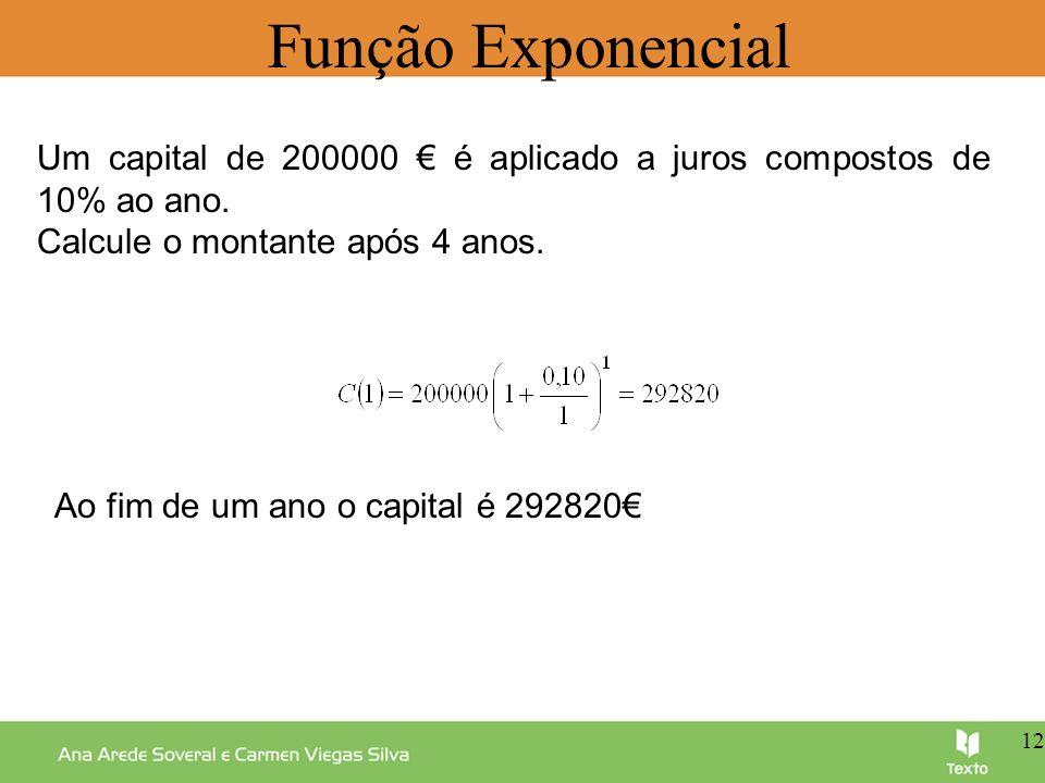Função Exponencial Um capital de 200000 € é aplicado a juros compostos de 10% ao ano. Calcule o montante após 4 anos.