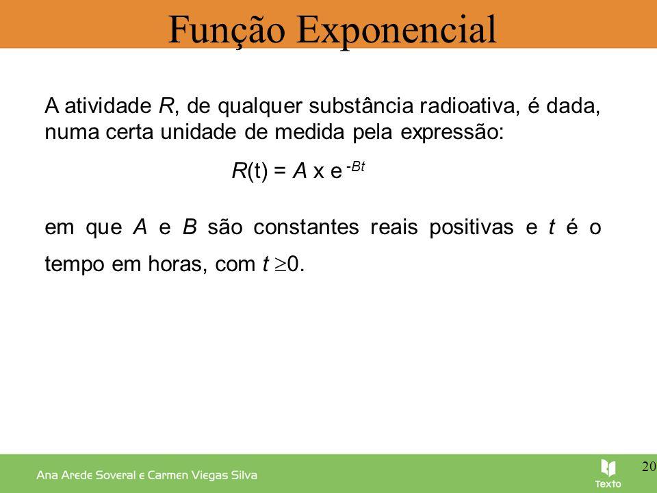 Função Exponencial A atividade R, de qualquer substância radioativa, é dada, numa certa unidade de medida pela expressão: