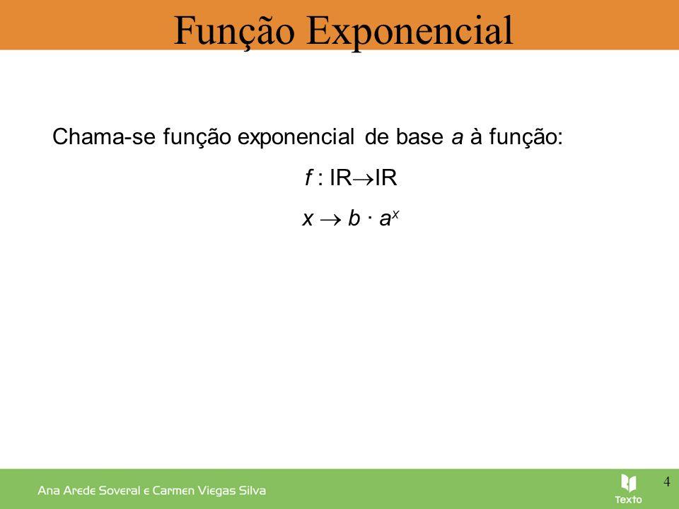 Função Exponencial Chama-se função exponencial de base a à função: