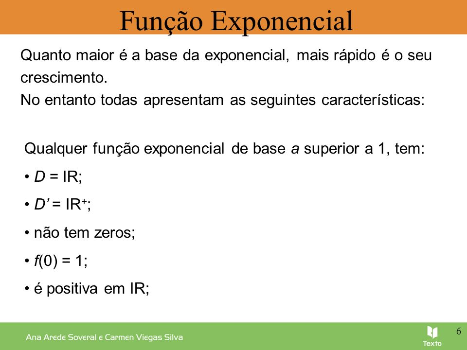 Função Exponencial Quanto maior é a base da exponencial, mais rápido é o seu. crescimento.