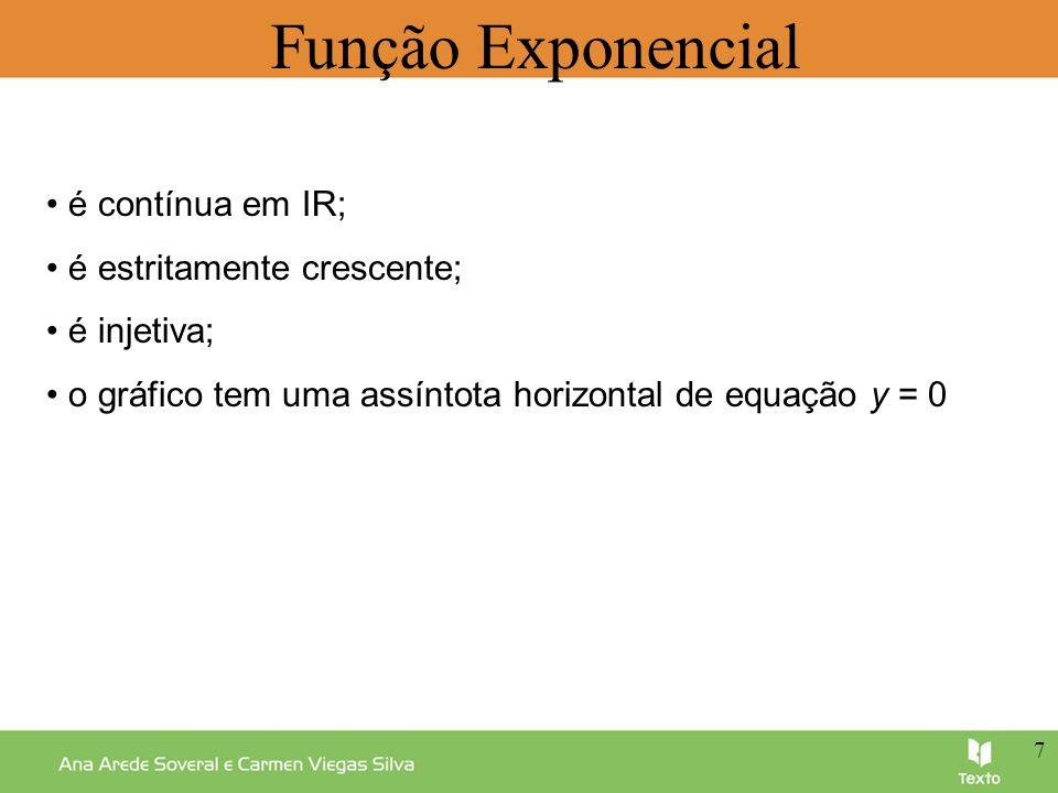 Função Exponencial • é contínua em IR; • é estritamente crescente;